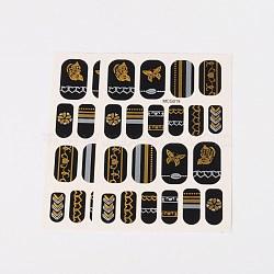 Autocollants en papier de tatouages temporaires de faux styles amovibles, métalliques ongles autocollants, or, 18~26x8~16 mm; environ 2 PCs / sac(AJEW-O025-17)