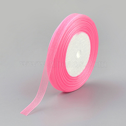 """Ruban d'organza, hotpink, 3/8"""" (10 mm); 50yards / roll (45.72m / roll), 10 rouleaux / groupe, 500yards / groupe (457.2m / groupe)(RS10mmY005)"""