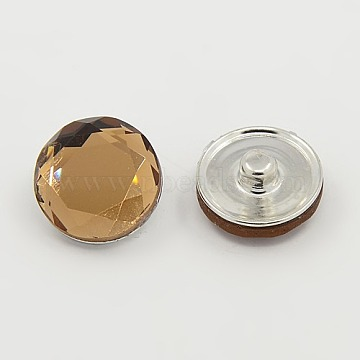 Alloy Jewelry Snap Buttons, with Glass Beads, Faceted, Flat Round, Platinum, CoconutBrown, 18x9mm; Knob: 5mm(X-GLAA-R028-7)