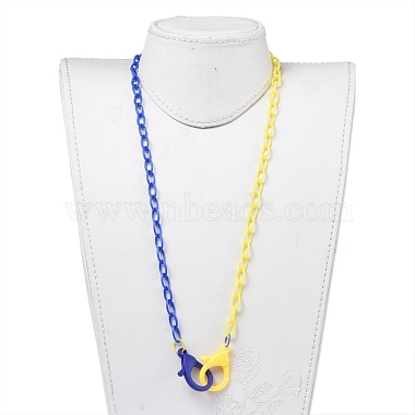 Personalized Two Tone ABS Plastic Cable Chain Necklaces(NJEW-JN02825-05)-4