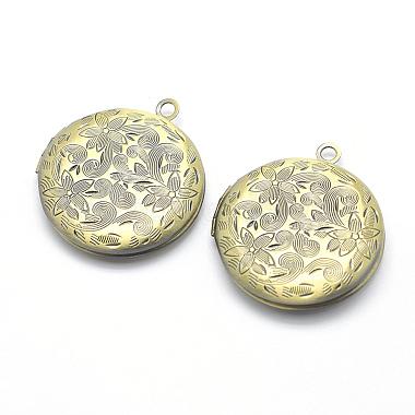 Antique Bronze Flat Round Brass Pendants