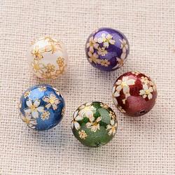 цветочная картина печатные стеклянные круглые бусины, cmешанный цвет, 10 mm, отверстия: 1 mm(GLAA-J089-10mm-B)