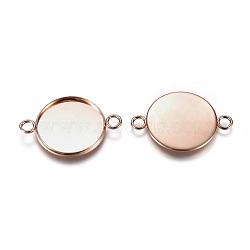 304 настройки разъема кабошона из нержавеющей стали, чашки безель с краем, плоские круглые, розовое золото, лоток: 20 мм; 22x31x2 мм, отверстия: 3 mm(STAS-E484-45A-RG)