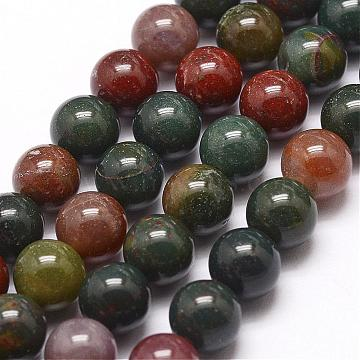 Natural Indian Bloodstone Beads Strands, Heliotrope Stone Beads, Round, 10mm, Hole: 1mm; about 38pcs/strand, 15.5inches(395mm)(G-G954-02-10mm)