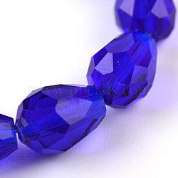 прозрачная стеклянная бусина нитей, граненых падение, MediumBlue, 8x6 mm, отверстия: 1 mm; о 72 шт / прядь, 22(X-GLAA-R024-6x8mm-01)