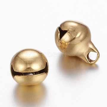 304 Stainless Steel Bell Charms, Golden, 11x8mm, Hole: 1.8mm(X-UNKW-N0001-03G)