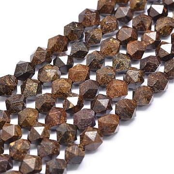 Natural Bronzite Beads Strands, Star Cut Round Beads, Faceted, 10x10mm, Hole: 1mm; about 35~40pcs/strand, 15.74inches(G-N0313-07-10mm)