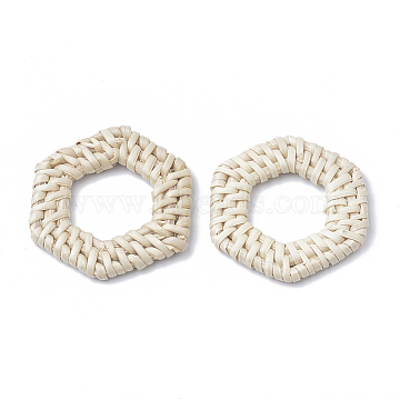 37mm AntiqueWhite Hexagon Others Linking Rings