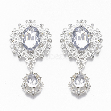 Alloy Cabochons, with Acrylic Rhinestone and Crystal Rhinestone, Faceted, Flower and teardrop, Silver, 56x29x6mm(X-RB-R059-03S)