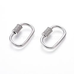 laiton micro pavé zircone cubique vis verrouillage mousqueton porte-clés, charm mousqueton, pour la fabrication de colliers, ovale, platine, 26x16x2 mm(ZIRC-I031-09P)