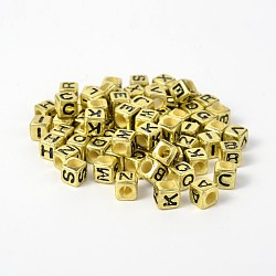 Perles européennes acryliques opaques de style mélangé avec grand trou, alphabet, cube, or, 7x7x7mm, Trou: 4mm(X-SACR-I001-02)