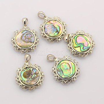 Abalone Shell/Paua ShellPendants, with Platinum Plated Brass Findings, Flat Round, Colorful, 27x24.5x4.5mm, Hole: 5.5x4mm(SSHEL-N006-04)
