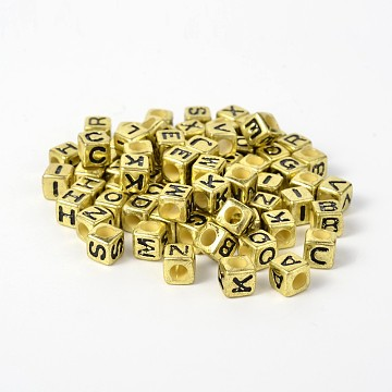 7mm Gold Cube Acrylic Beads