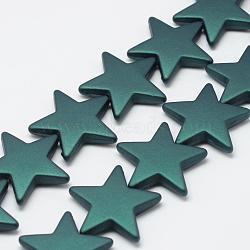 Chapelets de perles en acrylique de style caoutchouté, étoiles, darkcyan, 26x27.5x5.5mm, Trou: 1.5mm(MACR-S857-03)