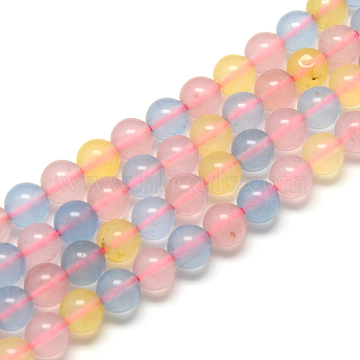 Morganite Round Bead Strands, Dyed, 8mm, Hole: 1mm; about 48pcs/strand, 14.9 inches(G-R342-8mm-20)