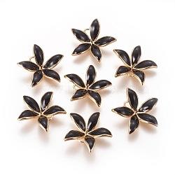 pendentifs en laiton émail peg bails, pour la moitié de perles percées, sans nickel, fleur, véritable plaqué or, noir, 23x24x6 mm, trou: 2 mm; broches: 1 mm(KK-F803-26G-01-NF)
