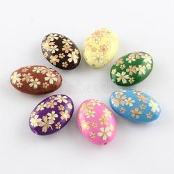 Motif de fleur opaques perles de actylic imprimés, ovale, couleur mixte, 19x13.5x6mm, Trou: 2mm(MACR-R550B-01)