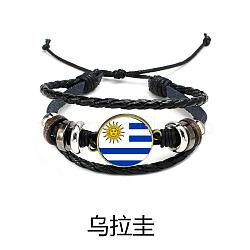 """Cordon en cuir tressé réglable rétro bracelets multi-brins, avec des accessoires en plastique CCB, avec motif de drapeau, colorées, 2-3/8"""" (60 mm)(BJEW-TA0002-05F)"""