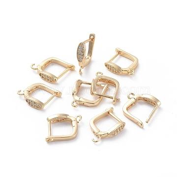 Accessoires de boucle d'oreilles en laiton, avec boucle et zircone cubique transparente, oeil de cheval, Plaqué longue durée, véritable plaqué or, 16.5x11.5x3.5mm, trou: 1.5 mm; broches: 0.8 mm(ZIRC-L077-037G)