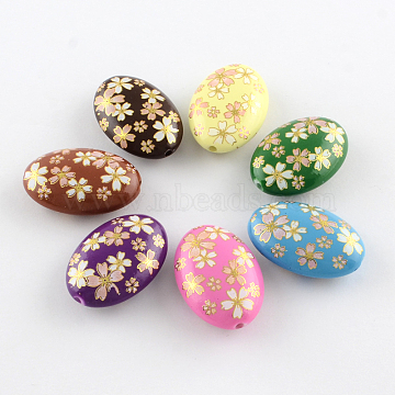 Flower Pattern Opaque Printed Acrylic Beads, Oval, Mixed Color, 19x13.5x6mm, Hole: 2mm(MACR-R550B-01)