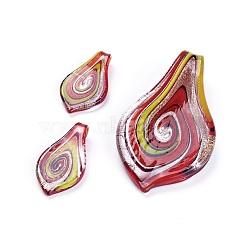 Ensembles de pendentifs en verre faits main argentés, faire des colliers et des boucles d'oreilles, feuille, colorées, 59x32mm, trou: 6.5 mm; 30x16~18 mm, trou: 3 mm; 3 pcs / ensemble (FOIL-C564-2A)