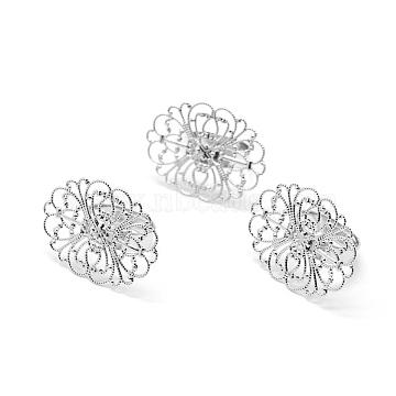 Brass Ring Shanks, Filigree Ring Bases, For Antique Rings Making, Adjustable, Platinum, 17mm(KK-L184-36P)