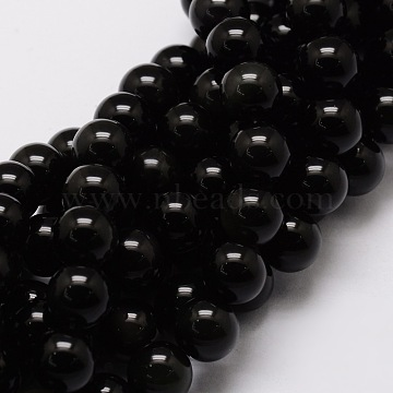 Natural Obsidian Round Beads Strands, 6mm, Hole: 1mm, about 62pcs/strand, 15.7 inches(G-G735-19-6mm)