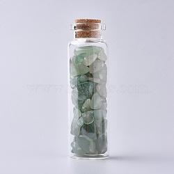 bouteille en verre qui souhaitent, pour la décoration de pendentif, avec des perles vertes en chips d'aventurine à l'intérieur et un bouchon en liège, 22x71 mm(DJEW-L013-A09)