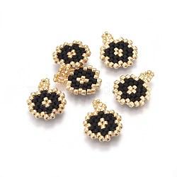 Pendentifs miyuki® et toho® faits à la main de perles de rocailles japonaises, motif de tissage, plat rond, noir, 15~16x12~12.5x1.7mm, Trou: 2mm(SEED-A027-MA01)