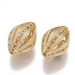 Brass Filigree Beads, Hollow, Nickel Free, Real 18K Gold Plated, 18.5x12.5mm, Hole: 1.2mm(X-KK-S350-162G)