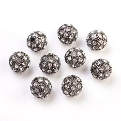 Perles de strass en alliage, Grade a, rond, gunmetal, 12mm, Trou: 1.5mm(ALRI-Q212-2)