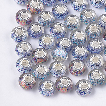 Resin European Beads, Large Hole Beads, with Silver Color Plated Brass Core, Rondelle, Mixed Color, 14x8.5~9mm, Hole: 5mm(X-RPDL-S013-13)