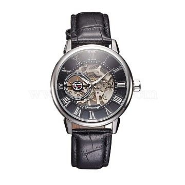 Alloy Watch Head Mechanical Watches, with PU Learther Cord Watch Band, Platinum, 254x20mm; Watch Head: 48x45x13mm; Watch Face: 35mm(WACH-L044-01P)
