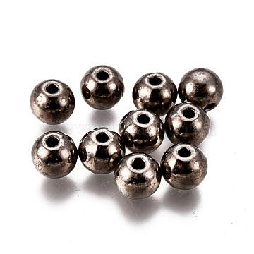 Alloy Beads, Lead Free & Cadmium Free, Round, Gunmetal, 6x5.5mm, Hole: 1.4mm(PALLOY-F277-50B-RS)
