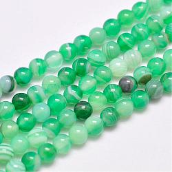 Natural Striped Agate/Banded Agate Bead Strands, Dyed & Heated, Round, Grade A, SpringGreen, 4mm, Hole: 0.5mm; about 93pcs/strand, 14.7inches(375mm)