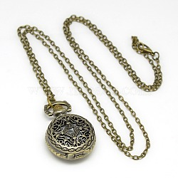 Alloy Flat Round Pendant Necklace Quartz Pocket Watch, with Iron Chains and Lobster Claw Clasps, Antique Bronze, 31.1inches; Watch Head: 36x27x12mm(X-WACH-N011-33)