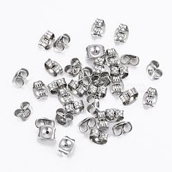 304 écrous en acier inoxydable, boucles d'oreille, couleur inox, 6x4.5x3.5 mm; broches: 0.9 mm(X-STAS-H413-01P)
