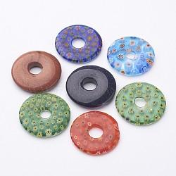 pendentifs en verre millefiori à la main, couleur mélangée, 28~35x4~5 mm, trou: 6~8 mm(X-LK-L004-11)