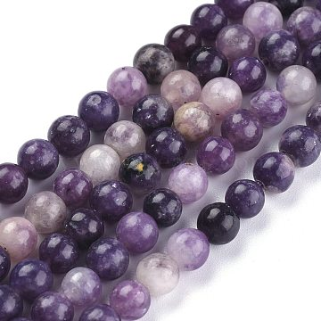 Natural Lepidolite/Purple Mica Stone Beads Strands, Round, 6.5~7mm, Hole: 0.7mm; about 62pcs/Strand, 14.96 inches(38cm)(X-G-K415-6mm)