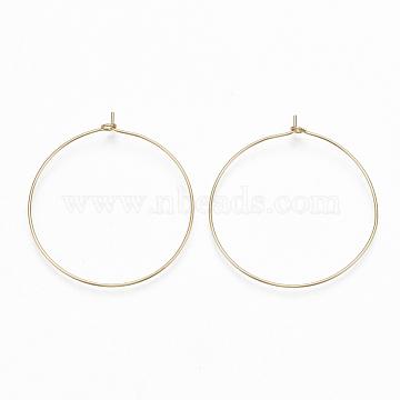 Brass Hoop Earrings Findings, Wine Glass Charms, Real 18K Gold Plated, 22 Gauge, 44.5x41x4mm; Pin: 0.6mm(X-KK-S348-244)
