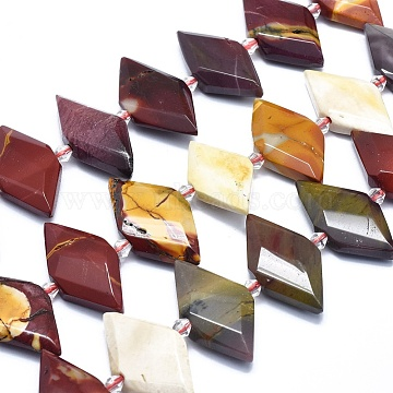 Natural Mookaite Bead Strands, Faceted, Rhombus, 21~32x10~18x5~7mm, Hole: 0.6~0.8mm, about 20~25pcs/strand, 15inches~15.7inches(38~40cm)(G-O179-H24)