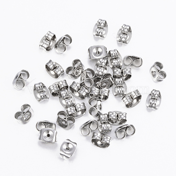 304 Stainless Steel Ear Nuts, Earring Backs, Stainless Steel Color, 6x4.5x3.5mm, Hole: 0.9mm(X-STAS-H413-01P)