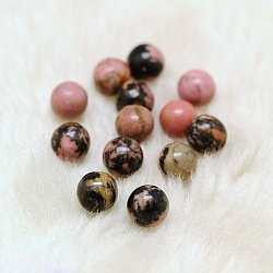 Perles de rhodonite naturelles rondes à moitié percées, 8mm, Trou: 1mm(G-D735-06)
