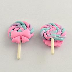 Polymères main cabochons argile de bonbons, lollipop avec bowknot, rose, 38x24x8mm(X-CLAY-Q181-04)
