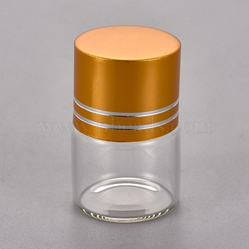 Glass Bottles, Refillable Bottle, with Aluminum Caps and Plastic Stopper, Column, Clear, 3.4x2.2cm, Capacity: 5ml(AJEW-WH0098-86)