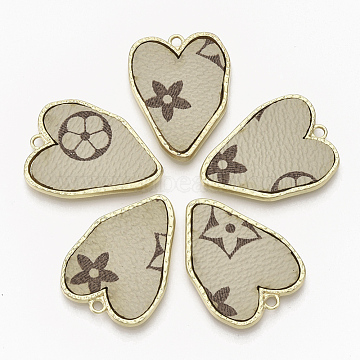 Alloy Pendants, with Imitation Leather, Heart with Flower, Light Gold, Tan, 32x24x3mm, Hole: 2mm(X-PALLOY-T056-119C)