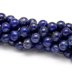 Natural Lapis Lazuli Round Beads Strands, 6mm, Hole: 1mm; about 63pcs/strand, 15.5 inches