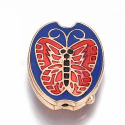 Perles en cloisonné Manuelles, ovale avec le papillon, bleu, 25.5x19.5x7.5mm, Trou: 1mm(CLB-S007-01)