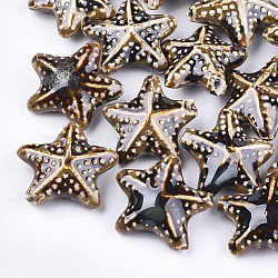 Handmade Porcelain Beads, Fancy Antique Glazed Porcelain, Starfish/Sea Stars, Camel, 35~36x37~38x15~17mm, Hole: 2~3mm(X-PORC-S498-33C)