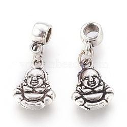 Perles européennes de pendentif en alliage , Pendentif grande trou, Bouddha, argent antique, 25mm, trou: 4 mm; Pendentif: 14x10.5x3 mm(PALLOY-E454-16AS)